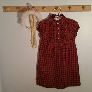 Ralph Lauren Size 4 Red Plaid Ruffled Dress